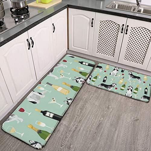 Juego de 2 alfombras de cocina Husky, vino, cócteles, raza de perro, menta, lavable, juego de alfombrillas de cocina antideslizantes para interiores y exteriores