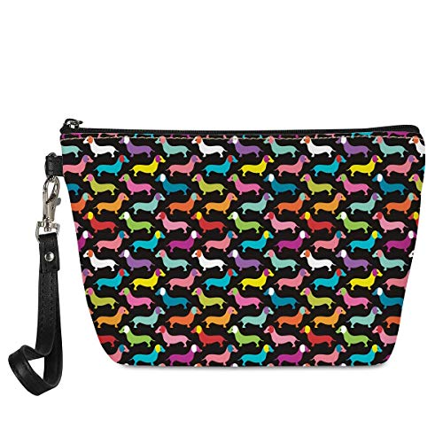 chaqlin Multi Dachshund Trucco Organizzatore Pu Leather Borsa cosmetica Zippered Shopping Pouch per Ladies Girls Trucco Custodia