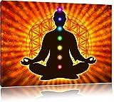 Pixxprint Meditation mit den 7 Chakren als Leinwandbild |