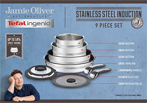 Tefal L95691 Ingenio Jamie Oliver Set, 9-teilig, inkl. 3 x Deckel und 2 x abnehmbare Griffe, kompatibel mit allen Herdarten, Edelstahl