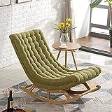 FFAN Silla Mecedora, sillón cómodo sofá, Silla de Madera Maciza de Ocio para balcón, sillón de Siesta para Ancianos, Acuario de algodón Verde + reposapiés Good Life