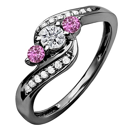 Dazzlingrock Collection Black Rhodium Plated 10K Pink Sapphire and White Diamond Swirl 3 Stone Ring 1/2 CT, White Gold, Size 6