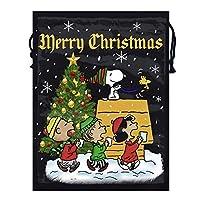 クリスマススヌーピー両面プリント巾着バックパック耐久性ショルダーバッグスポーツジムバッグ男性女性子供