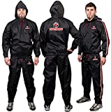 FIGHTSENSE MMA Sauna Suit for Men and Women, Waterproof Anti-Rip Sweat Suit for Weight Loss 2PC Set, Workout Suit for Sports, Running, Cycling, Treadmill, Boxing & Fitness.(Red Hoodies & Pants, XL)