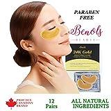 Benols Beauty 24K Gold Anti-Aging Bio-Collagen Moisturizing Eyes Mask (12 Pairs) with Hyaluronic