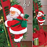 Owill 2021 Electric Climbing Santa with Music & LED Light, Electric Climbing Ladder Santa Claus Doll for Xmas Tree Decorations Hanging Christmas Ornaments Tree Decor Holiday Party Gift for Kids