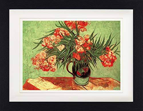 1art1 Vincent Van Gogh - Stillleben, Vase Mit Oleander Und Büchern, 1888 Gerahmtes Bild Mit Edlem Passepartout | Wand-Bilder | Kunstdruck Poster Im Bilderrahmen 40 x 30 cm
