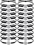 20 Pieces Volleyball Bracelets Adjustable Volleyball Charm Bracelet Volleyball Cord Braided Rope Bracelet with Charm for Girl Women Men Teens Most Sport Team Players (Black)