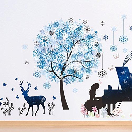 Nicole Knupfer Schneeflocke Baum Wandtattoo Wandbilder Hirsch Wandaufkleber Klavier Mädchen Wandsticker Wanddeko für Wohnzimmer Schlafzimmer Kinderzimmer (Klavier Mädchen, Baum, Hirsch)