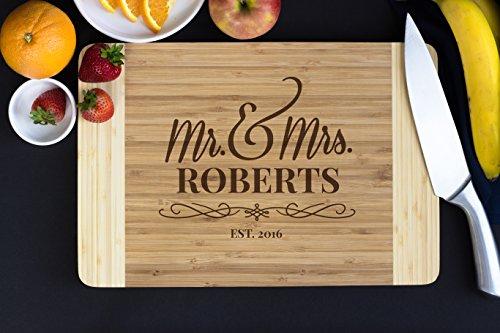 Personalized Bamboo Cutting Board- Flourish Script, 15' x 10', Hostess Gift, Housewarming Gifts, Wedding Gift, Gift for Newlyweds