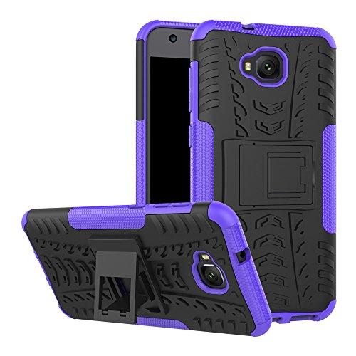 TiHen Handyhülle für Asus Zenfone 4 Selfie ZD553KL Hülle, 360 Grad Ganzkörper Schutzhülle + Panzerglas Schutzfolie 2 Stück Stoßfest zhülle Handys Tasche Bumper Hülle Cover Skin mit Ständer -lila