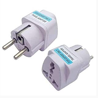 【2 pcs】 White Universal USA UK AUS Euro to Germany France Korea Travel Adapter AC Power Plug