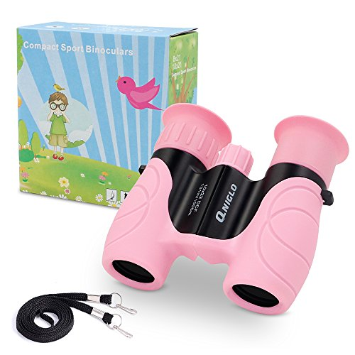 Qniglo Kids Binoculars Shockproof 10x22 High Resolution Real Optics Outdoor Explore Compact Binocular for Kids Children Toys Gift for Kids (Pink)