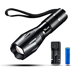 Wiederaufladbare LED Taschenlampe taktische Taschenlampe, superhell, mit USB Ladegerät und 18650 Li-Ionen Akku