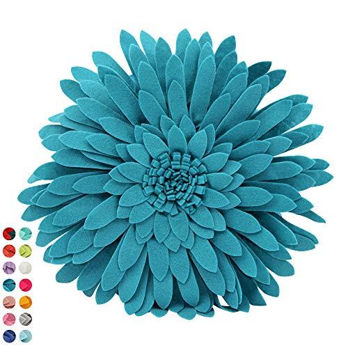 Flower Decorative Pillow - 3D Daisy Flower Pillow, Sunflower Throw Pillow -14.5 x 13 inch Round Decor Pillow - Flower Home Decorations - Couch & Bed Flower-Shaped Pillow (Case + Insert, Teal)