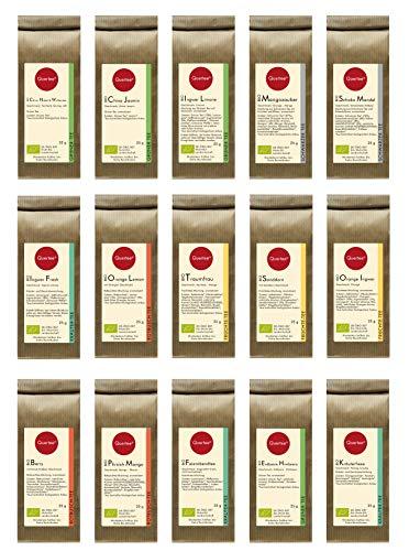 Quertee Nr. 2412 - 15 x 25 g verschiedene Biotee als Teegeschenk | Tee Geschenk zum Probieren | Finde Deinen Lieblingstee im Tee Probierset als Geschenk zu Weihnachten