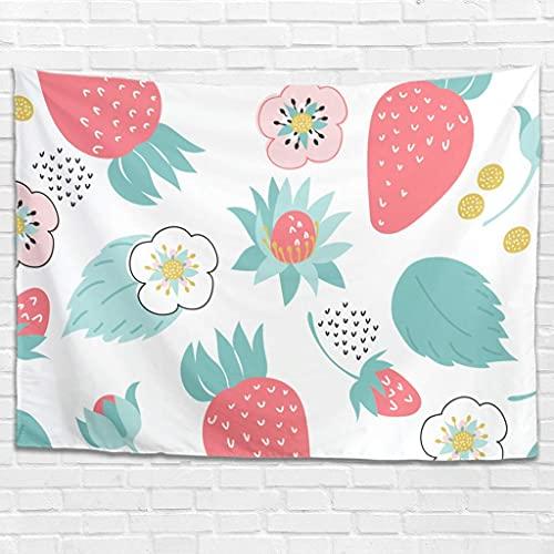 Tapiz de flores de fresa para colgar en la pared psicodélico, tapiz de pared para dormitorio, sala de estar como toalla de playa, colcha de 100 x 150 cm, color blanco