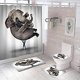QGWMCD Duschvorhang Graubrauner Elefantenjunge,Bad 4-teiliges Set, rutschfest, Digitaldruck, mit 12 Haken für Badezimmer einschließlich Badematte, Sockelmatte & Toilettenmatte