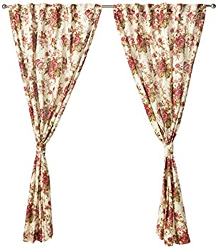 WAVERLY Curtains for Bedroom - Norfolk 100  x 84  Decorative Double Panel Rod Pocket Window Treatment Privacy Curtain Pair for Living Room Tea Stain