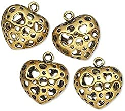 Pendant Jewelry Making for Bracelets and Chains 4 Antiqued Gold Plated Pewter Double Sided Heart Charms ~ 16x14mm