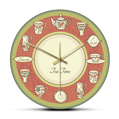 Tea Time Retro Dishware Modern Design Dinning Room Wall Clock Tea Kettle Teapot Vintage Clock Kitchen Restaurant Teahouse Décor-No_Frame