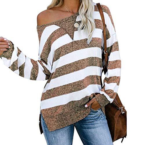SLYZ Europeo Y Hermoso Otoño Casual Suelta Color A Juego A Rayas Camiseta De Manga Larga Top De Mujer