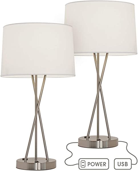 Paradis 24 Inches Tall Table Lamp Set With Outlet And USB Port Brushed Nickel Bedroom Lamps End Table Lamp Living Room Table Lamps Side Table Lamp Bedroom Lamp Charges Electronics Set Of 2