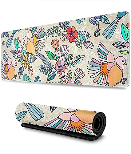 Colorful Bird Gaming Mouse Pad XL,Extended Large Mouse Mat Desk Pad, Stitched Edges Mousepad,Long Non-Slip Rubber Base Mice Pad,31.5X11.8 Inch