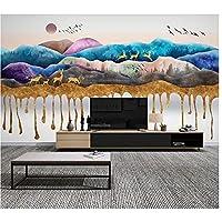 カスタマイズされた大きな壁紙3d新しい中国のインク風景禅鳥日の出テレビ背景壁紙-400X280cm