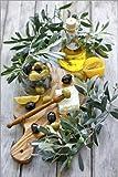 Poster 61 x 91 cm: Grüne und Schwarze Oliven mit Flasche