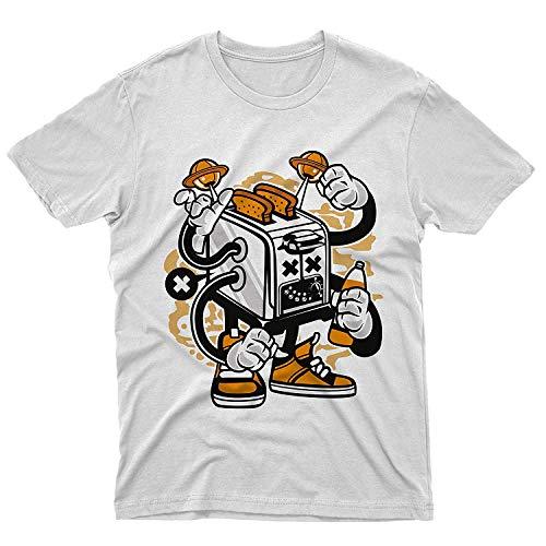 fm10 T-Shirt Toaster Monster Tost Raum Planeten Lustig Cartoon - Weiß, Donna M