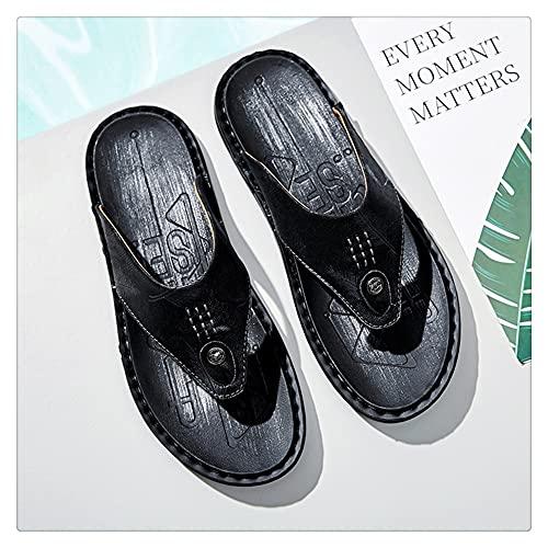 NJZYB Zapatillas De Hombre Moda De Verano Chanclas Resistentes Al Desgaste Zapatillas Planas Negras Para Jóvenes Al Aire Libre (Color : Black, Size : 40yards)