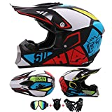 AKBOY Adult Motocross Helm Motorradhelm Cross Offroad Motocrosshelme Schutzhelm für Erwachsene Vollhelm Fullface Helmet für Männer Damen ABS Mopedhelm mit Handschuhe Brille Maske, Weiß Rot Blau,S