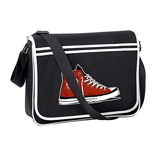 Ice-Tees Anarchy Basketball Boot Cool Graphic Retro Messenger Bag, Schwarz - Schwarz - Größe: Einheitsgröße