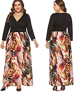 Extaum Women Plus Size Dress Colorful Peacock Feather Print Criss Deep V Neckline Long Sleeve Elegant Maxi Gown