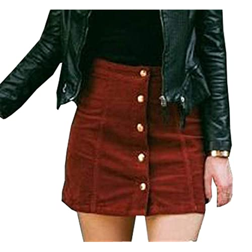 170f1fbe81a7 Rela Bota Women's Junior High Waist Faux Suede Button Closure Plain A-line  Mini Short