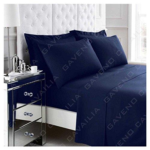 Gaveno Cavailia Non-Iron Percale Fitted Sheet Drap-Housse, Polyester-Coton, Bleu Marine, King
