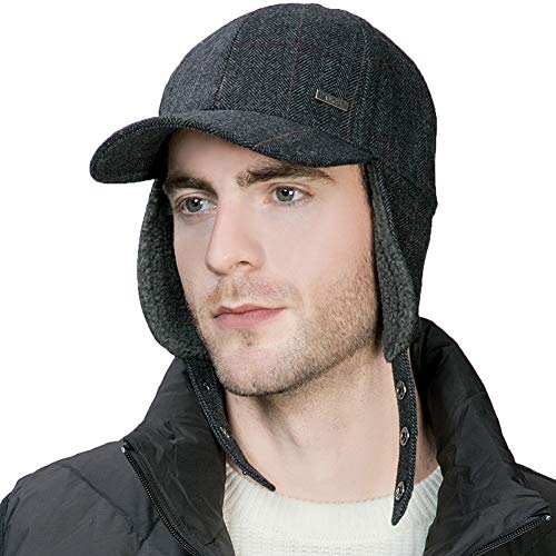 Jeff & Aimy Herringbone Tweed Wool Mens Winter Hat Womens Baseball Cap with Fleece Ear Flaps Muffs Warm Lined Trapper Hunting Ski Chavo Del Cold Weather Hat 58-60CM Black