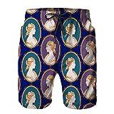 ZHIMI Pantalones Cortos De Playa para Hombres,patrón de Vector Antiguo camafeo en Azul,Pantalones De Chándal De Secado Rápido, Bañador De Verano para Ejercicios Al Aire Libre L