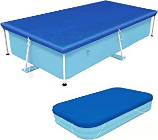 Vanexiss Swimming Pool Cover, Rectangular UV Resistant Polyethylene Above Ground with Ropes (87, 59)