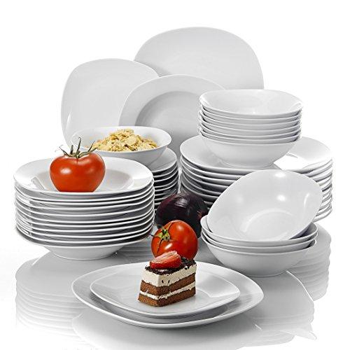 MALACASA Série Elisa, 48 Pcs Service de Table Porcelaine,Services Complets à Dinner, 12 Pcs * [Assiette Plat][Assiette Creuse][Assiette à Dessert][Bol à Céréale], Vaisselles à Dinner pour 12 Personnes