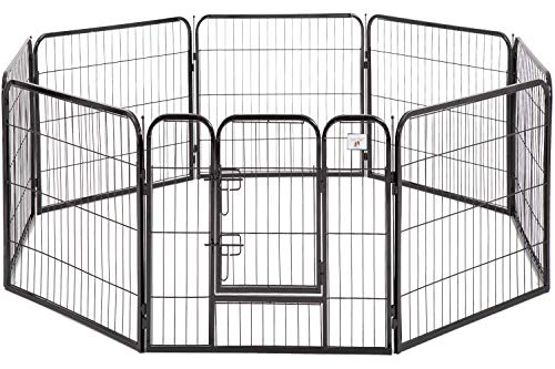 BestPet Pet Playpen Dog Kennel 8 Panel Indoor Outdoor Folding Metal Portable Puppy Exercise Pen Dog Fence,24',32',40' (40', Black)