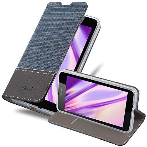 Cadorabo Custodia Libro per Nokia Lumia 640 in Azzurro Scuro Nero - con Vani di Carte, Funzione Stand e Chiusura Magnetica - Portafoglio Cover Case Wallet Book Etui Protezione