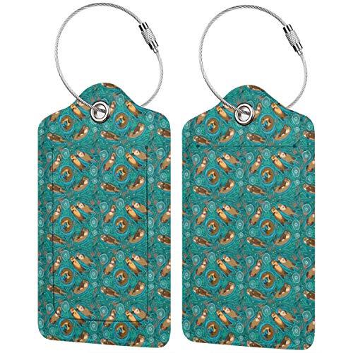 Otters in Love Etiquetas de equipaje de colores verdes para maletas, portabicicletas...