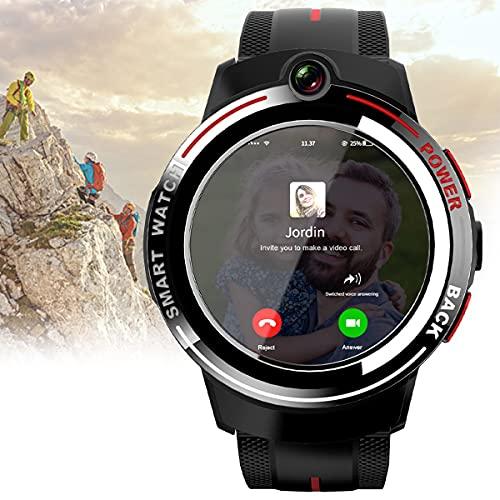 BLLJQ 4G Reloj Inteligente, Función GPS Incorporada, IP67 Bluetooth Prueba Agua, 1~32 GB, Compatible Pantalla Táctil 1.39 Pulgadas, Al Reconocimiento Facial, con Compatible Android/iOS,Negro