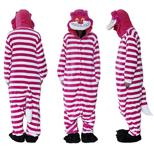 Pyjama, Einteiler, Polar-Fleece, Flanell, unisex, Grinsekatze, Cosplay-Kostüm, Schlafanzug, Nachtwäsche, Tierpyjama, Overall, auch für draußen geeignet