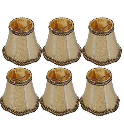 Pantalla de lámpara de araña, Cubierta de lámpara de Mesa E14 lámpara de lámpara de 6 Piezas, Metal + Tela para pasillos, pasillos, Salas de Estar, Salas de Estudio, dormitorios