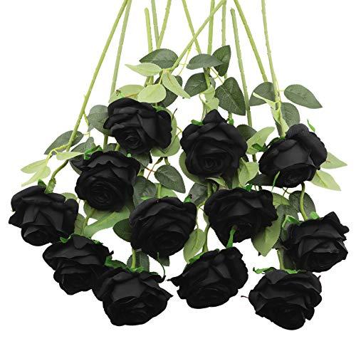 Decpro 12 Piezas de Rosas Artificiales, Flor de Seda de un Solo Tallo Largo de 19.7'' para Ramos de Novia, decoración de Hotel de Oficina, centros de Mesa, arreglos Florales(Negro)