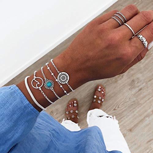 Handcess Boho - Juego de pulseras de plata con forma de flor de sol, accesorios de mano para mujeres y niñas (5 piezas)