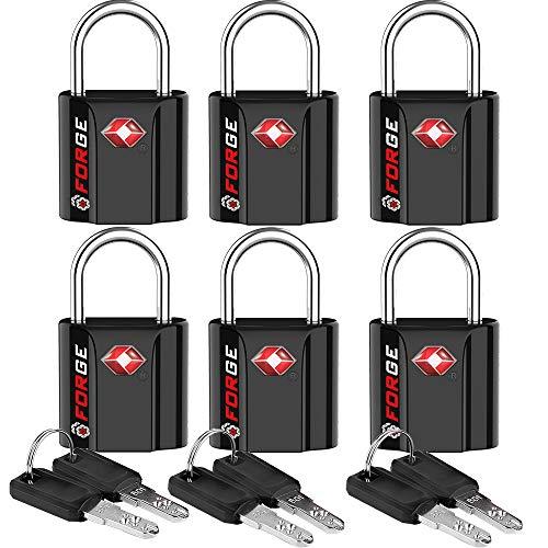 Black 6 Pack TSA Approved Luggage Locks Ultra-Secure Dimple Key Travel Locks with Zinc Alloy Body